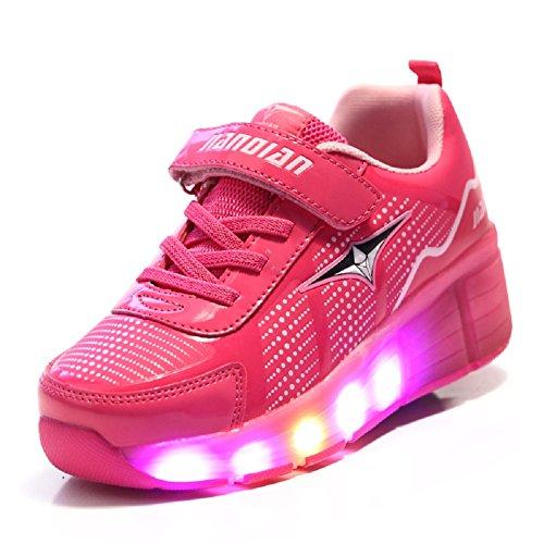 Axcer Luces LED Zapatos con Ruedas Automático Skate Brillante Calzado Deportes de Exterior Patín 7 Colores Led Luz Parpadea Zapatillas de Roller Gimnasia Sneakers para Niñas Niño … (28 EU, Rosa)