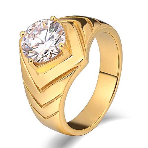 stahl Ring Gold für Herren Hochglanzpoliert mit Zirkonia V Breite 10 MM Freundschaftsring Gold Retro Ring Größe 57 (18.1) (Region 10 Kostüm)