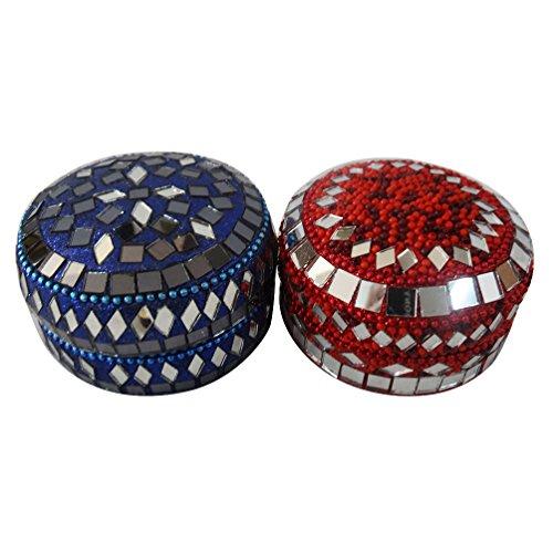 decorativo di monili set di 2 pezzi in alluminio lavorato a mano materiale lac accessori viola scatola della pillola femminile rosso custodia voce regalo di nozze