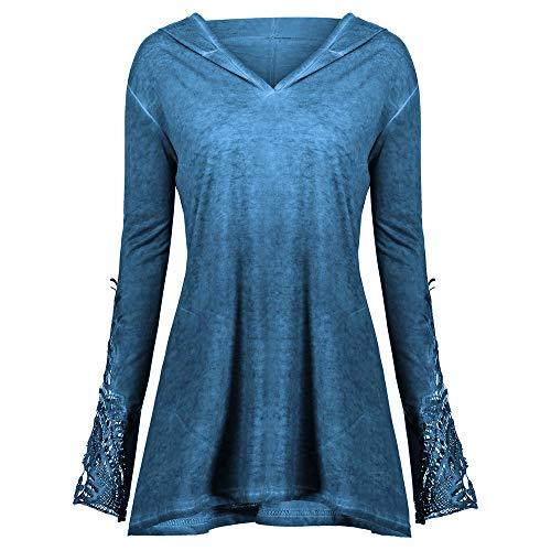 IZHH Damens Plus Size Tops, lässige Spitze Lange Ärmel lose Montage häkeln Panel solide Hoodie Bluse Swearshirt Lace Cuffed Hood Sweater Top(Blau,XX-Large) Lace Hood