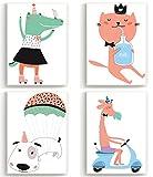 Wandposter für Kinderzimmer, Babyzimmer Poster, Wandbild, Wanddruck Kinder (DIN A4 4er-Set) Comic