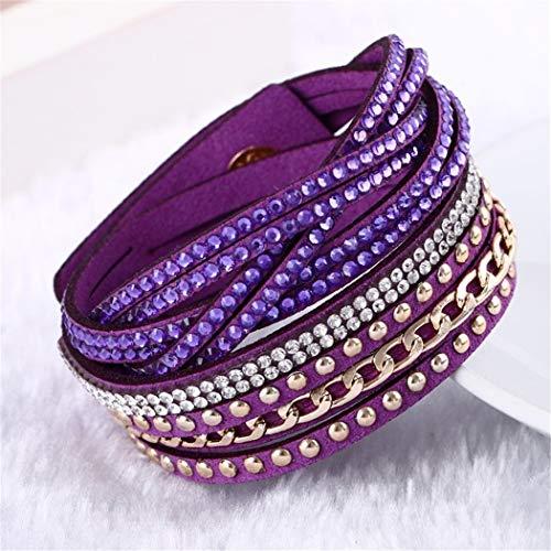 QWERST Bracelet Multilayer Leder Armband Charme Bracelets Vintage Schmuck B (B-charme-armband)