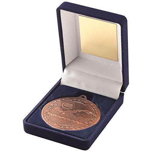Lapal Dimension Blau Samt Box und 50mm Medaille Schwimmen Trophy-Bronze 3,5in -