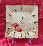 Orologio quadrato da parete in ceramica, linea papaveri