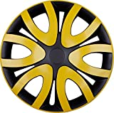 Premium Radkappen Radzierblenden Radblenden 'Modell:Mika' 4er Set, Farbe:Gelb-Schwarz, Felgendurchmesser:16 Zoll