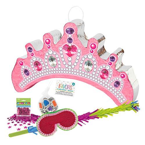 PartyMarty Prinzessin Pinata, 1 x Schlagstock 75cm, 1x Maske, 1 x Konfetti PINK metallisch & 1x 12 Fingerringe BUNT für Kindergeburtstag, Geburtstags-Spiel, Mädchen