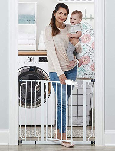 Baybee Auto Close Safety Baby Gate-Extra Tall Durable Dog Gate with Door-Easy Walk-Thru Child Gate for House, Stairs, Doorways Protective Lock (Gate for 75-95 cm White)