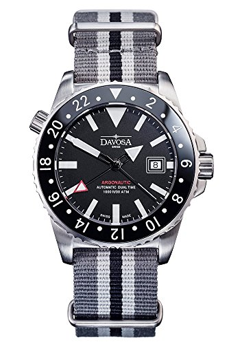 Davosa Automatic Argonautic Dual Time Stainless Steel Black Face Nylon Strap Wrist Watch