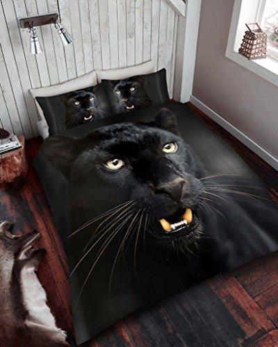 Bettbezug Set 3D Animal Print Effekt Quilt Betten Set Poly Baumwolle NEU, 50 % Baumwolle, 50 % Polyester, Black Panther Print, Einzelbett (Cat King-size-quilt)
