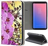 Samsung Galaxy J1 2016 J120 Hülle Premium Smart Einseitig Flipcover Hülle Samsung J1 2016 Flip Case Handyhülle Galaxy J1 2016 Motiv (1538 Orchidee Lila Blume Pflanze)
