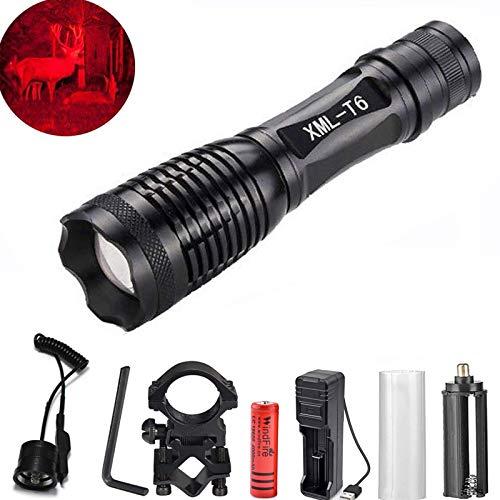 Taschenlampe Rotlicht Taktische Taschenlampe rote LED USB Wiederaufladbare Taschenlampe mit Batterien, Laufschienen-Gewehrhalterung und Ferndruckschalter für den Außenbereich