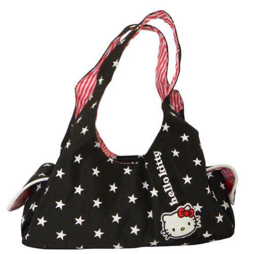 Petit sac shopping noir Hello Kitty etoile