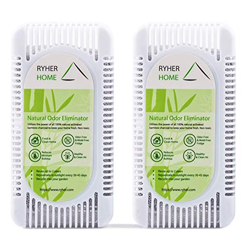 Ryher Absorbe y Elimina olores del frigorífico - Ambientador y purificador de Aire de carbón Activo de bambú 100% Natural - Quita olores del frigo (L - 2 Unidades, Blanco)