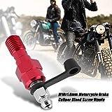 Wolfgo Dado Raccordo-M10x1.0mm Moto Freno Pinza Vite di spurgo con i capezzoli Dado Raccordo + Cappuccio parapolvere Rosso
