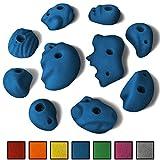 ALPIDEX 10 S - L Klettergriffe im Set verschieden ausgeformte Sloper in vielen Farben, ergonomische, kantenfreie Oberflächen, flache bis leicht kugelige Formen, können als Griffe oder als große Tritte verwendet werden , Farbe:Balance Blue