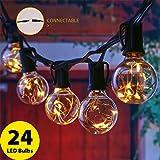 7,3 M 24 Piezas G40 Globo Cadena de Luz lebefe E12 LED Luces bombillas conectables Interior Exterior Decoración para Navidad de Halloween Patio Jardín Cafetería Mirador Fiesta Boda 24 bombillas + 3 bombillas de repuesto