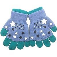 FENICAL 2 en 1 diseño completo y medio dedo guantes invierno niños cálidos guantes dibujos animados punto mitones mitones patchwork guantes elásticos aptos para niños de 6-12 años de edad