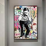 tzxdbh Ragazzo scattare Foto Street Art Dipinti su Tela Pop Graffiti Art Stampe su Tela Immagini murali per la Decorazione della Parete della Camera dei Bambini