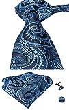 Set Hi-Tie de pañuelo y corbata de seda con estampado de cachemir, y gemelos, para hombre Azul Teal
