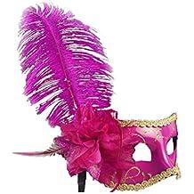 Máscara de Ojo Pluma Flor Veneciana Decoración Bola de Mascarada Partido Fiesta Vestido de Lujo - Rosa roja