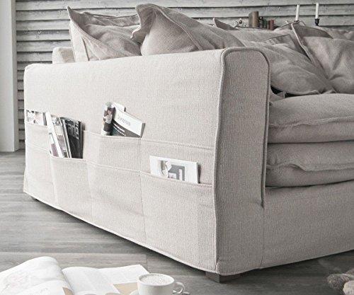 DELIFE Big Sofa Noelia Elfenbeinfarben 240×145 cm mit Kissen Hussensofa Sofa Couch