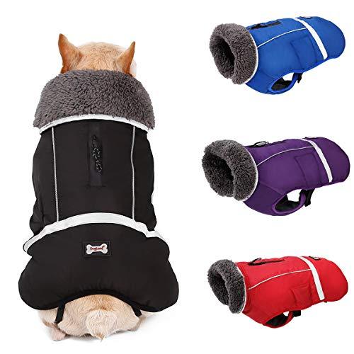 Komate wasserdichte Hundejacke Mäntel Winter Welpe warme Jacke Weste Sicherheitsreflektor für kleine mittelgroße Hunde Winddichter Anzug für kaltes Wetter (L (Brustumfang 52 bis 78 cm), Schwarz)