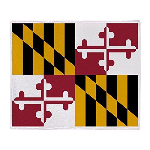 CafePress - Maryland Flag - Weiche Fleece-Überwurfdecke, 127 x 152 cm Stadion-Decke 50x60 weiß -
