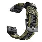 YOOSIDE Cinturino per Garmin Fenix 5X / 5X Plus, 26mm Nota Cinturino Resistente in Nylon Resistente al Sudore per Garmin Fenix 5X / 5X Plus/Fenix 3/3 HR/Descent Mk1 (Verde)