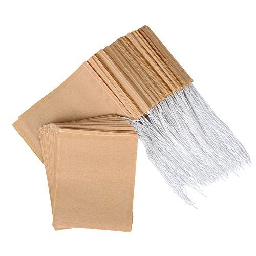 200 Pièces Sachets Filtre à Thé Jetables Sachets de Thé Naturel Écru Sac Vide de Cordon en Papier pour Thé à Feuilles Mobiles
