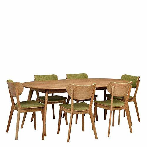 Essgruppe mit ovalem Tisch Grün Eiche massiv (7-teilig) Pharao24