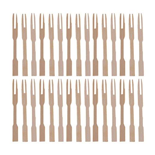 sevenmye 100Stück Holz Cocktail Picks, Bambus Paddel Spieße Bräter Sticks Gabeln für Obst BBQ Party Supplies