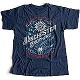 9268n Winchester Brothers Herren T-Shirt Singer Salvage Auto Yard Sam Vampire Pentagram Super Occult Impala Natural(Small,Navy)