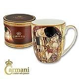 Carmani - Taza de porcelana decorada con 'El Beso' de Gustav Klimt 400ml