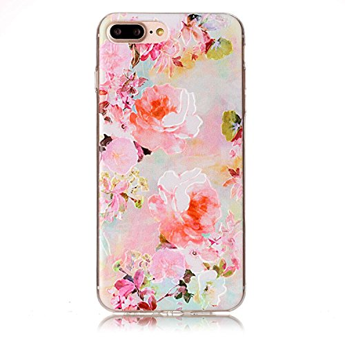 Apple iPhone 7 Plus 5.5 Hülle, Voguecase Schutzhülle / Case / Cover / Hülle / TPU Gel Skin (Schildkröte) + Gratis Universal Eingabestift Pink Pfingstrose 01