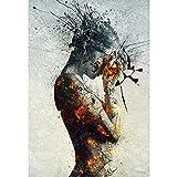 bdrsjdsb Mode Abstrakte Brennende Schönheit Leinwand Rahmenlose Druckwandkunst Poster Malerei Raumdekor 50 cm x 75 cm -