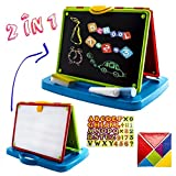 deAO Childrens Art Drawing Doodle Tabletop 2in1 Double Sided Boards - Blackboard and Magnetic Whiteboard with Chalk and Magnets