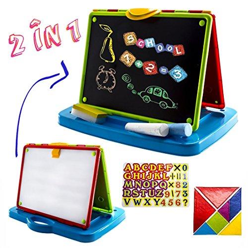 deAO 2-in 1 Klapp-und tragbare Tischstaffelei/ Kreide-und magnetisches Whiteboard in Einem für Kinder – Tafelset enthält Kreiden und Magnete