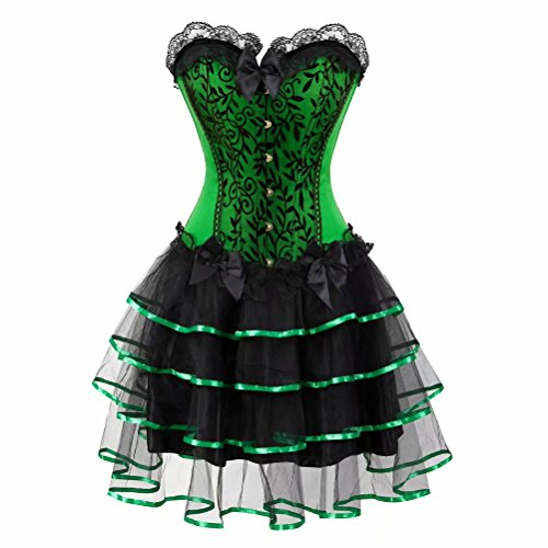 Damen pitzen schnüren Corsage Korsett Kleid Steampunk Corsagenkleid Bustier Vollbrust Rock Halloween Burlesque Grün 2XL