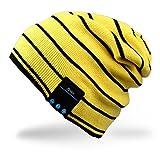 Rotibox Waschbar Modische Bluetooth Beanie mit drahtloser Bluetooth Kopfhörer Ohrhörer Lautsprecher Mic für Bewegung und Sportarten [Jogging Skifahren Eislaufen Wandern], Weihnachtsgeschenke - Gelb