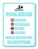 happygoluck1y Novelty Pool Rules Metallschilder Vintage Aluminium Schild für schlechte Außensicherheit Warnschilder Metall Blechschilder Wandschild