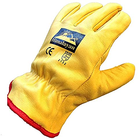 10 X Pairs Himalayan H310 Mens Work Driver Gloves Leather Thermal Fleece Lining, Size-10, Yellow