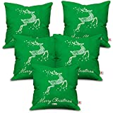 [Sponsored]Indibni Christmas Gifts Merry Christmas Quote Jumping Reindeer Composed Of Floral Artwork Green Cushion Cover 16x16 Set Of 5 - Gift For Birthday, Anniversary, Home Decor, New Year, X-mas