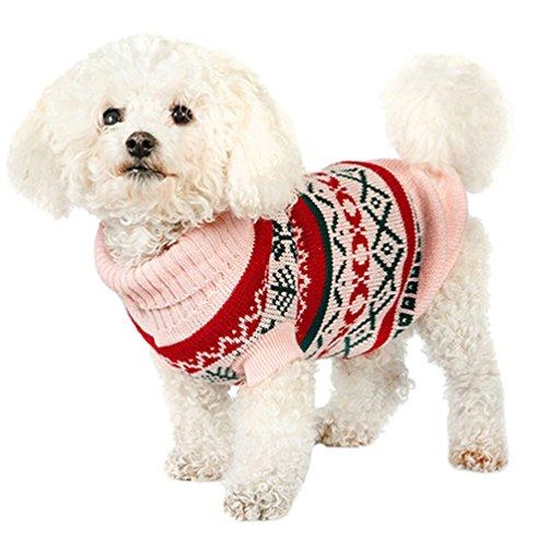 YiJee Kleine Hundchen Halloween Kleidung Haustier Hund Warme Stricken Pullover Pink S