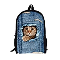 Moolecole Unisex 3D Cute Cat Patterns Daypack Backpack Boys Girls Casual School Bag Rucksack Cartoon Patterns Shoulder Bags Perfect for School and Travel