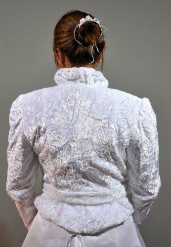 Rivestimento nuziale-Bolero, finta pelliccia di Persiano, a maniche lunghe con cintura Bianco