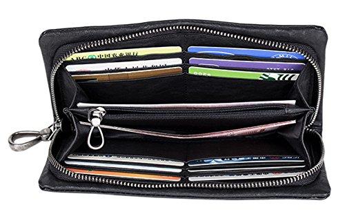 SAIERLONG WL Neues Herrengeldbörsen Damen Clutch Unterarmtasche Geldbörse Geldbeutel Geldtasche Handgelenktasche Portemonnaie Herren (Schwarz) Schwarz