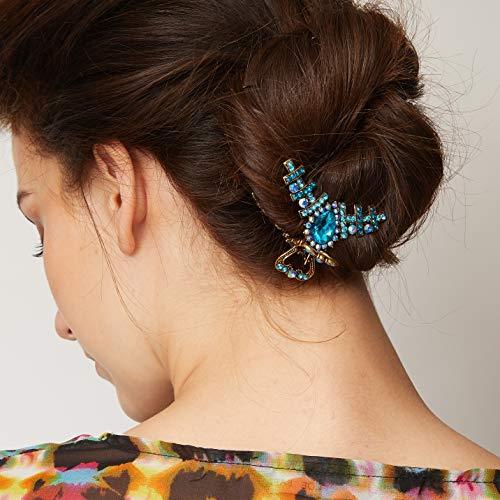 QueenMee Haarklammer/Haarspange/Haarklammer mit Strasssteinen, mittelgroß, goldfarben