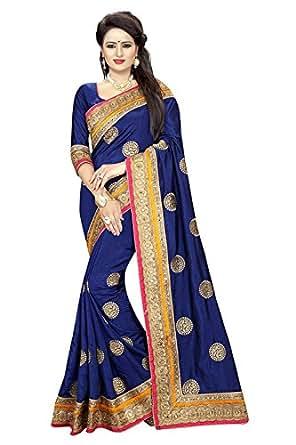 Nirjas Designer Women's Silk Saree With Blouse Piece(Trisha Navy)