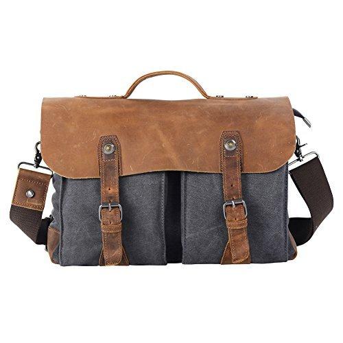 Borsa a tracolla Vintage, in tela e pelle Crazypack Borsa a tracolla, borsa da viaggio, grigio (Grigio) - CB002BLUE