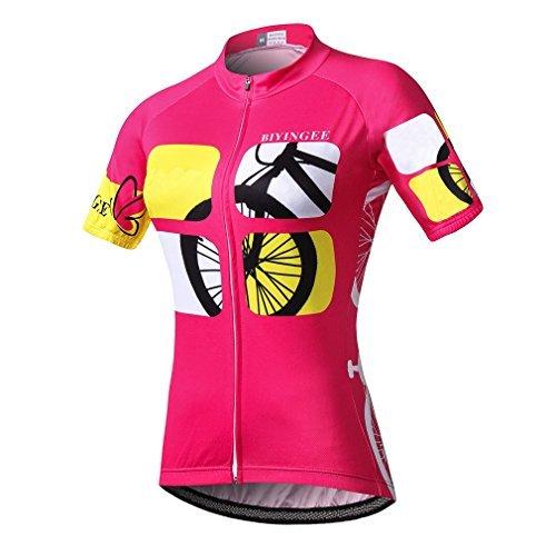 BIYINGEE Damen Fahrrad Trikot Kurz Sleeve mit Big reflektierendes Klebeband, Damen Mädchen, Riding Pink, Tag XXL = Chest 44.9